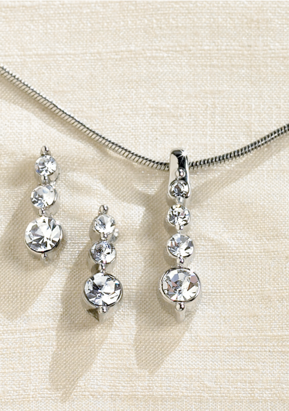 Triple Teardrop Rhinestone Necklace & Earrings