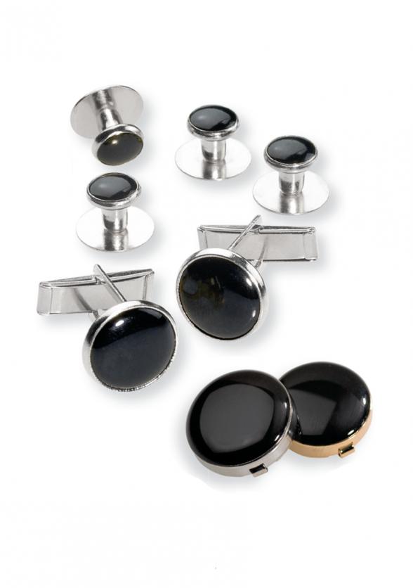 Black Stone Tuxedo Shirt Jewelry