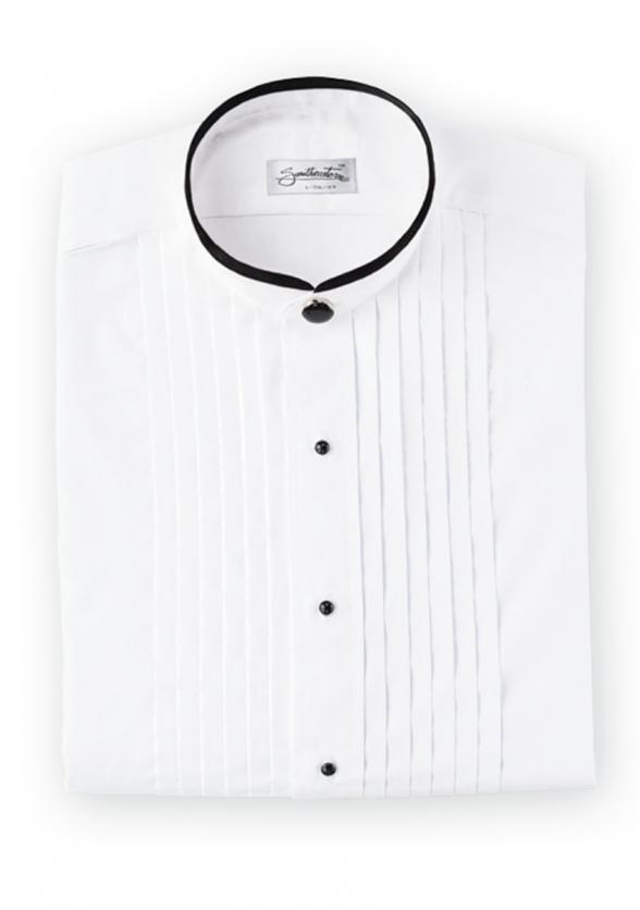 Banded Mandarin Collar Tuxedo Shirt