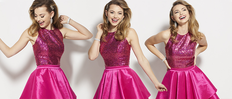 Show Choir Student Dancing in Pink Sequin Dress