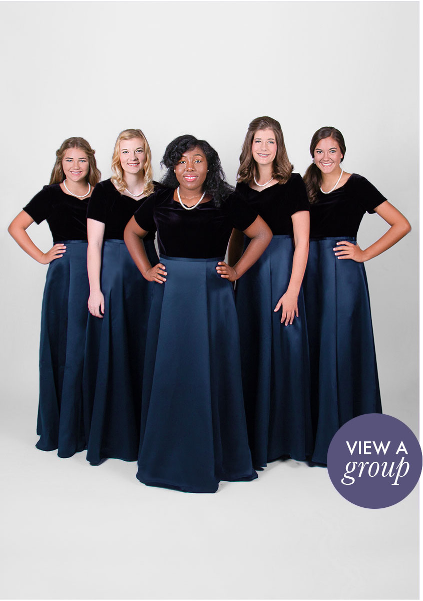 group of girls wearing Gavotta Concert Choir dress