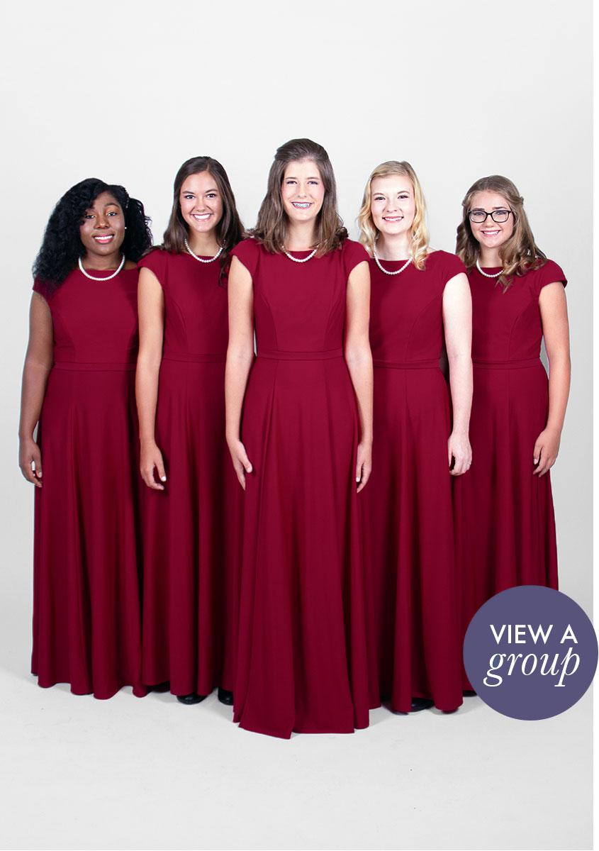group of girls wearing Kolby Concert Choir dress
